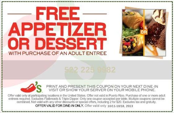 chilis coupon free appetizer