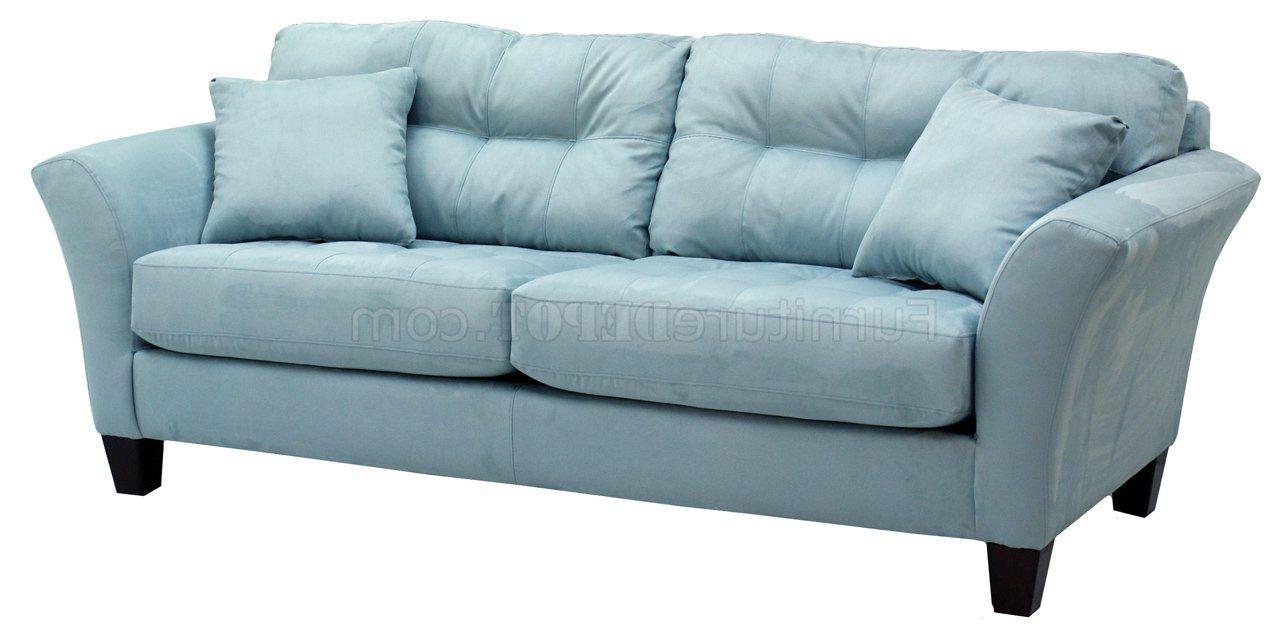 Elegant Light Blue Leather Sofa Couch Loveseat Light Blue Fabric