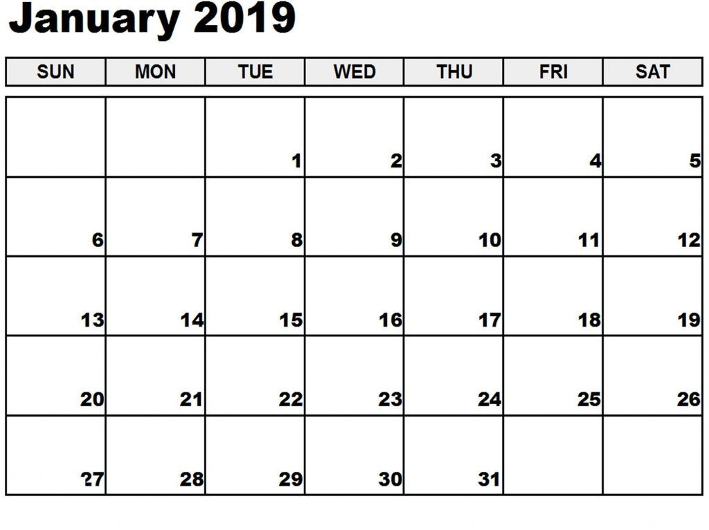 January 2019 Full Page Calendar Editable January 2019 Calendar With Week Number Printable