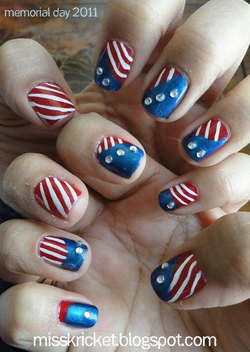 Memorial Day/ 4th of July Nail art design | 네일 | Pinterest