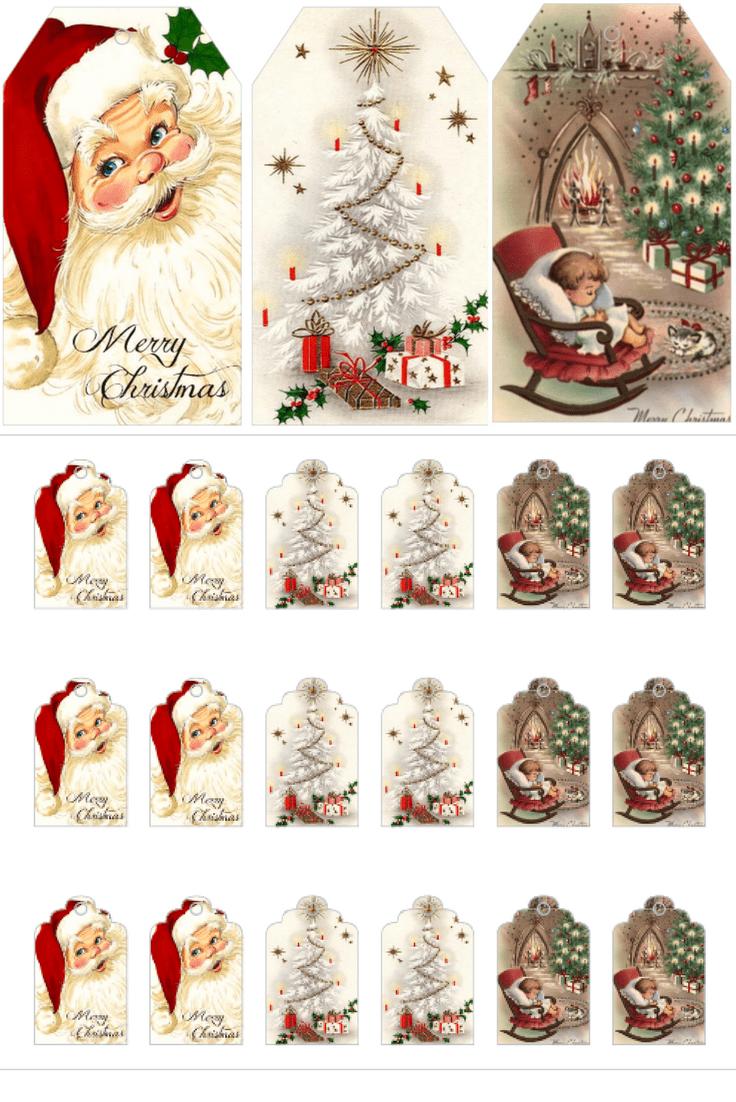 Download kostenlos druckbare Vintage Weihnachtsgeschenkanhänger für Holiday Wrapping   – Christmas/winter decorating