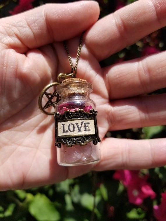 Miniature Love in a Bottle Necklace/Charm-Magic Bottle-Money Spell-Pentacle-Wicca #moneyspells