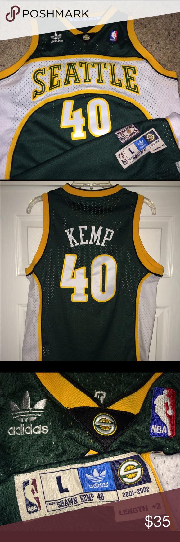 45958e89e567 Shawn Kemp Nba jersey Seattle SuperSonic shirt Vintage Adidas Seattle  Supersonic jersey..Shawn Kemp