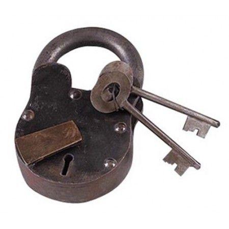 Medium Large Treasure Chest Lock Iron Working W Keys Big 6 Padlock Antique Sty Key Antique Iron Antique Keys