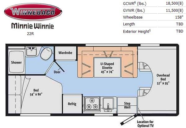 Minnie Winnie 22r Floor Plan Rv Floor Plans Winnebago Minnie