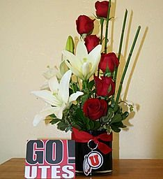 Go Utes! University of Utah Vase Arrangement (The Curly Willow in Riverton, UT)