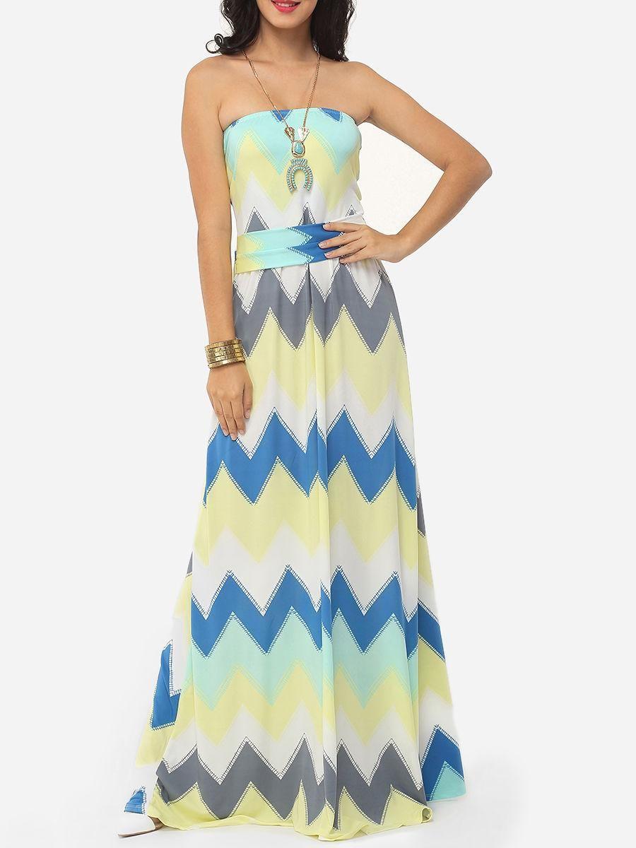 Plus size maxi dresses for summer wedding  Fashionmia  Fashionmia Color Block Zigzag Striped Delightful Tube