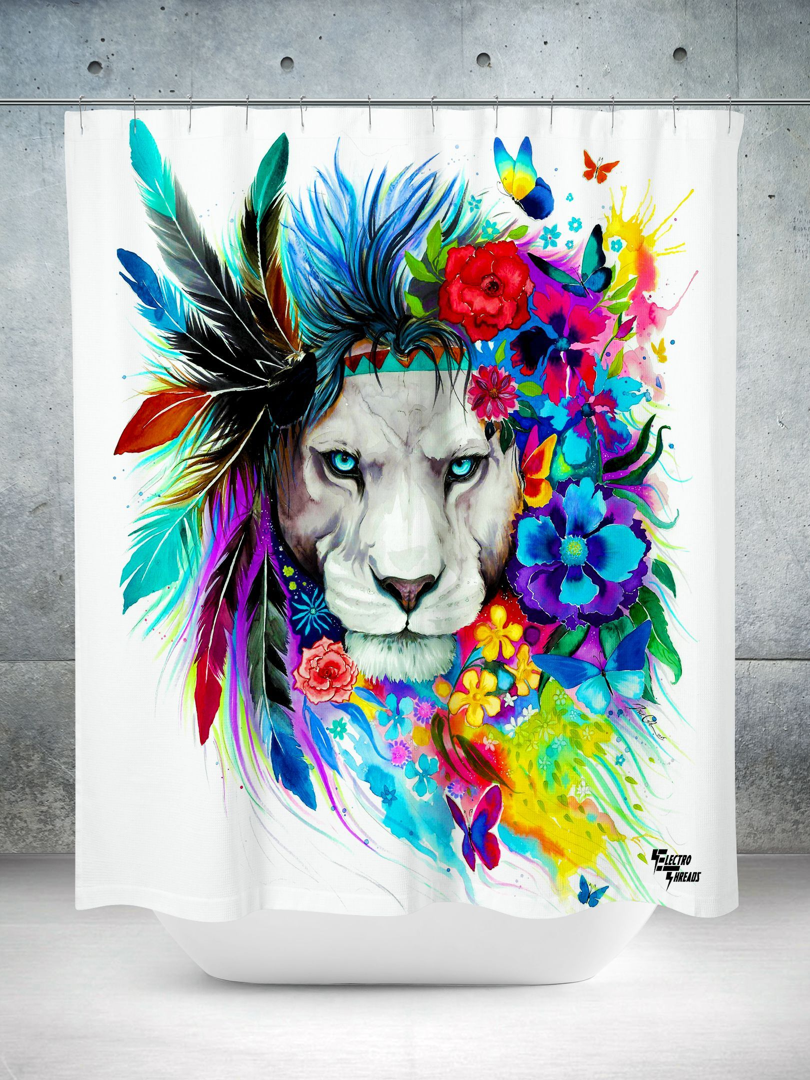 King Of Lions Shower Curtain Colorful Lion Lion Art Tattoos
