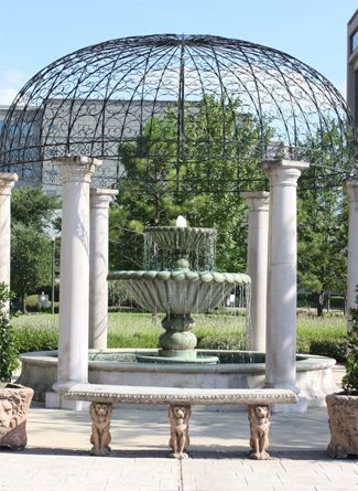 A Water Fountain And Stylish Cupola In Downtown Houston