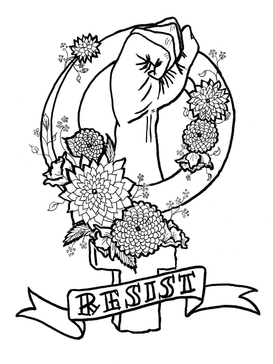 Feminist killjoy adult coloring pages feminism