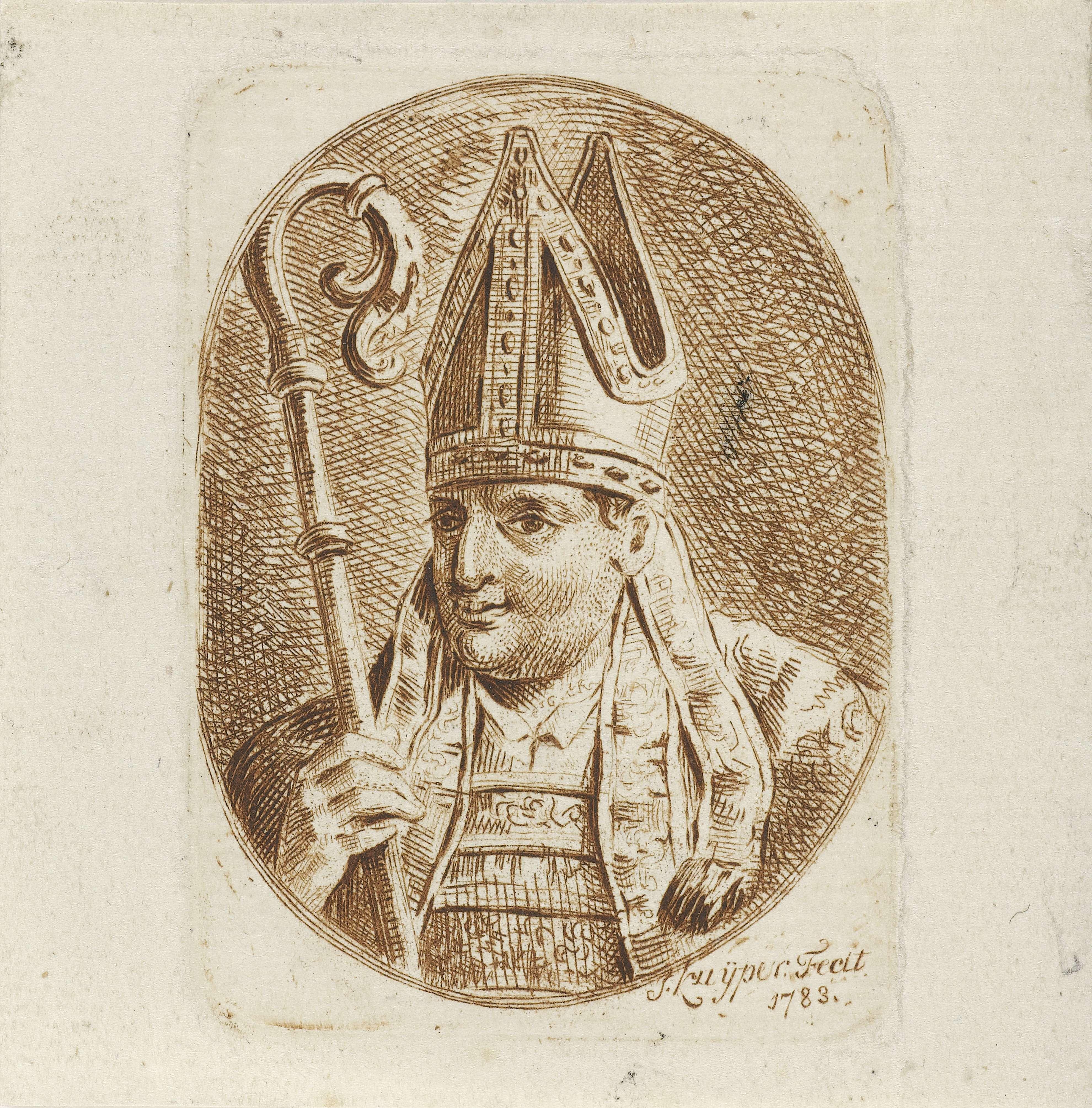 Jacques Kuyper | Portret van de heilige Bonifatius, Jacques Kuyper, 1783 | Portretbuste van de heilige Bonifatius in een ovaal naar links. Bonifatius draagt een mijter op het hoofd en heeft in de rechterhand een bisschopsstaf.
