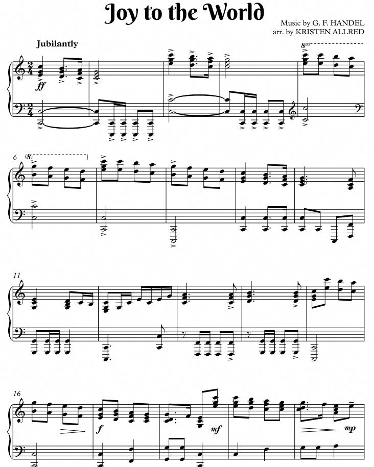 Joy to the World Intermediate Piano Solo. Energetic