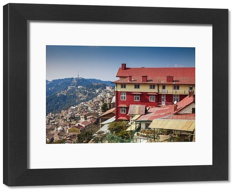 , Print of India, Himachal Pradesh, Shimla, View of City center, My Travels Blog 2020, My Travels Blog 2020