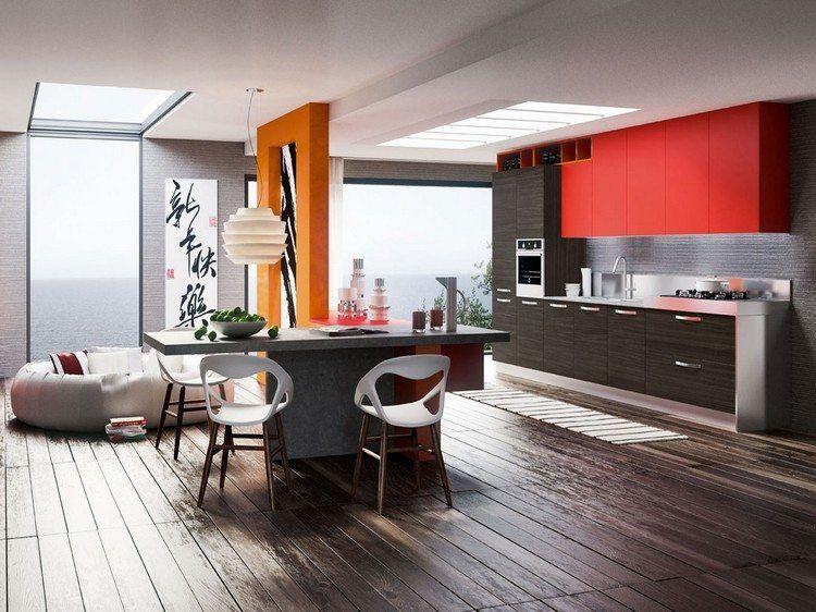 Qeuls Meubles Couleur Wenge Et A Quoi Les Associer 40 Idees Deco Cuisine Rouge Design De Cuisine Moderne Cuisine Rouge