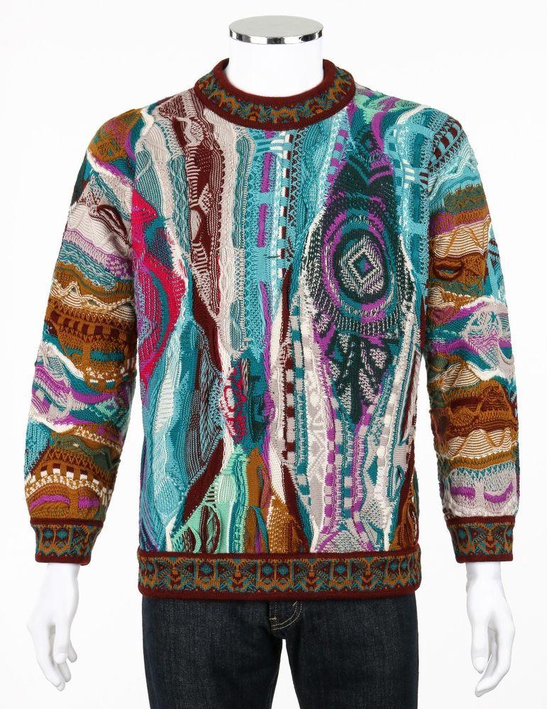 COOGI c.1990's Turquoise Brown Multicolor 100% Wool Knit Crew Neck Sweater Sz S #COOGI #Crewneck