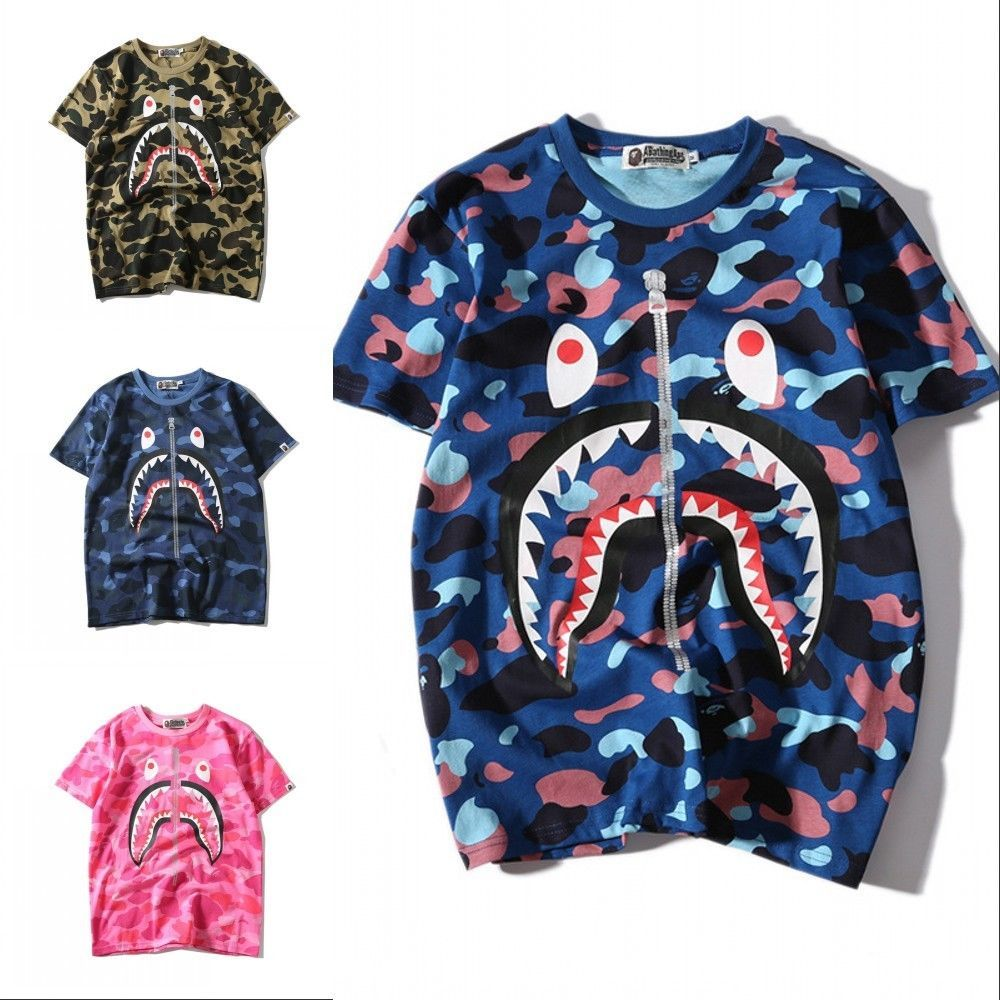 e297bced Bape A Bathing Ape Camo Zipper Shark Head T-shirt Tee Top Short Sleeve Crew  Neck - Shark Tshirt - Latest Shart Tshirt ideas #sharktshirt #shark #tshirt
