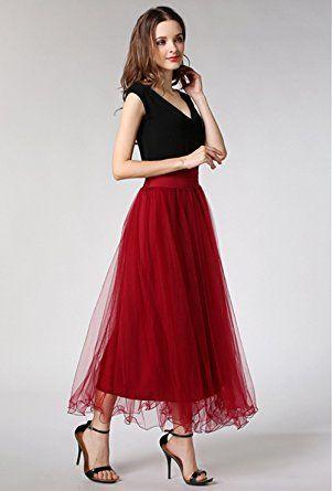 6d41a866e0 MML Women's Elastic Waist Gauze Tulle Ball Gown Big Swing OL Long Maxi  Skirts (Navy) at Amazon Women's Clothing store:
