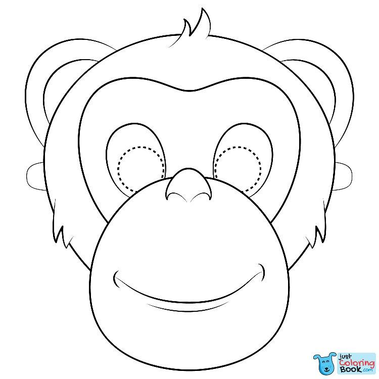 Chimpanzee Mask Coloring Page Stuffed Animal Patterns Mask For