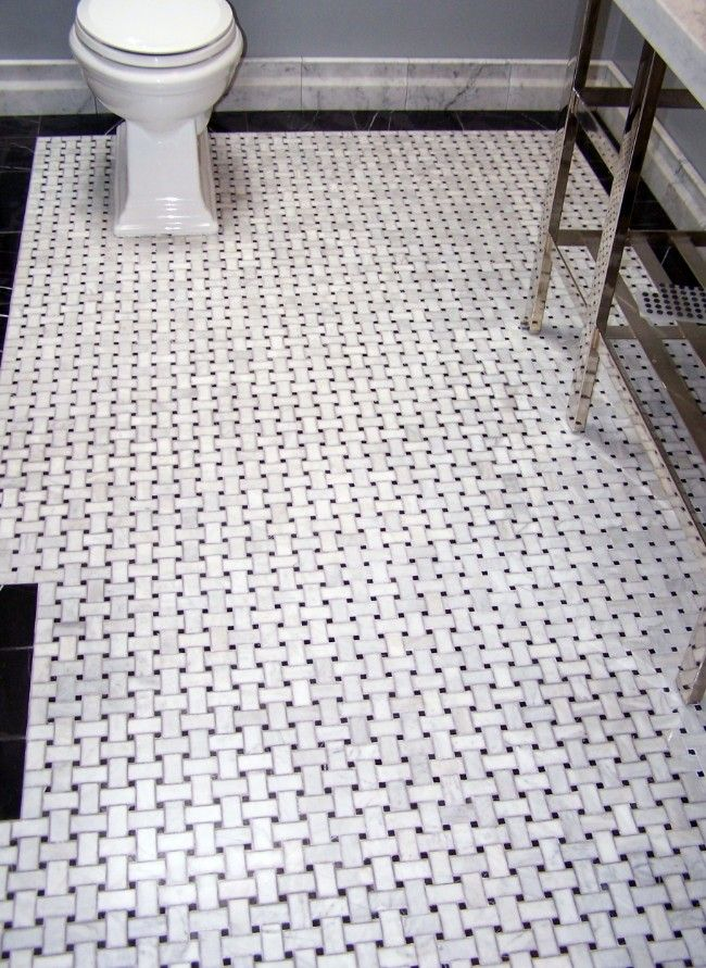 Basketweave Marble Tile   Like The Black Border