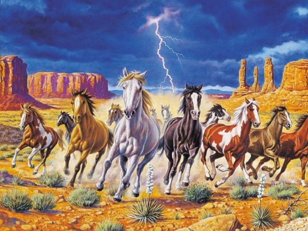 Horses Wild Horses With Storm Background Wallpaper Running Wallpaper With Images Horse Wallpaper Wild Horses Running Horse Painting