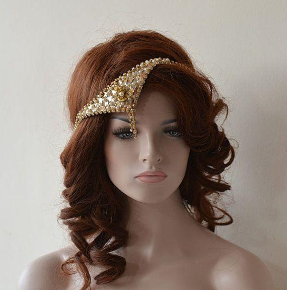Gold Vintage Style Wedding Headband Handmade Gatsby by ADbrdal
