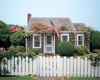 House of Dreams anyone? I love the plants and the tiny little  house, and the white picket fence. Just looking at it makes me feel at home.