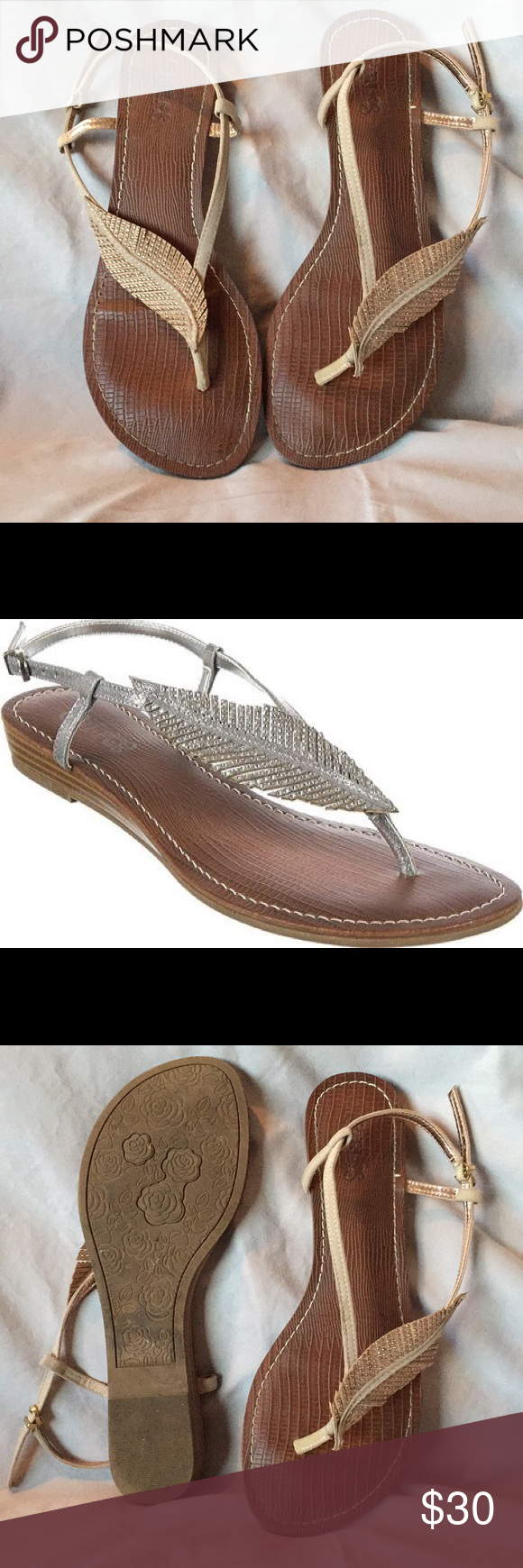 b881e1473c91 Carlos Santana Tandy Sparkle Leaf Sandals The Tandy flat thong sandal  features a elegant leaf embellishment on the vamp. Carlos Santana Shoes  Sandals