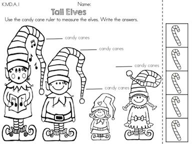 Tall Elves Elf Height Measurement With Informal Units Part Of The C Christmas Math Activities Kindergarten Kindergarten Math Worksheets Kindergarten Math