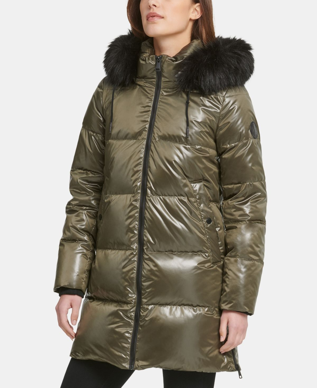 Dkny HighShine FauxFurTrim Hooded Puffer Coat Loden