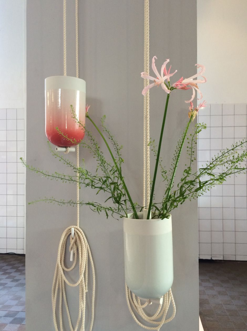 Spatial Vase by Studio Lotte Douwes made in The Netherlands on CrowdyHouse. #flowers #porcelain #hanging #decor #livingroom