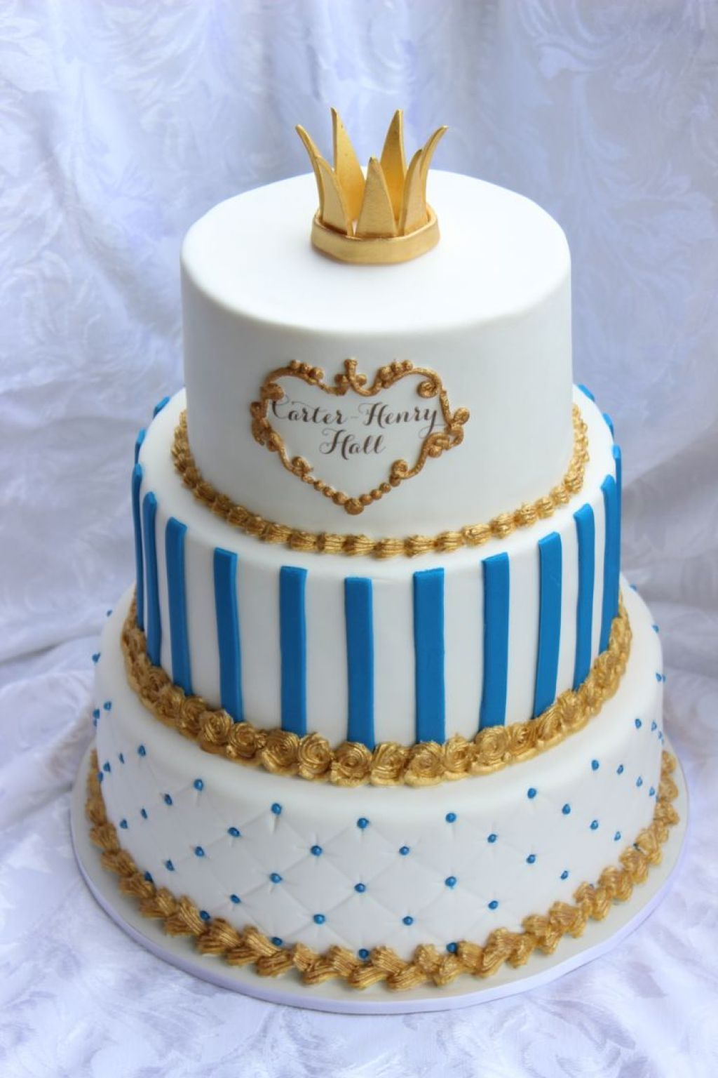 Extraordinary 3 Levels Baby Shower Cake For Boy With Gold Colored Fondant  Crown Topper : Mesmerizing · Prince Themed ...