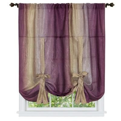 Achim Semi Opaque Ombre 50 In W X 63 In L Tie Up Shade Curtain In Aubergine Omtu63ab06 With Images Tie Up Shades Tie Up Curtains Window Shades