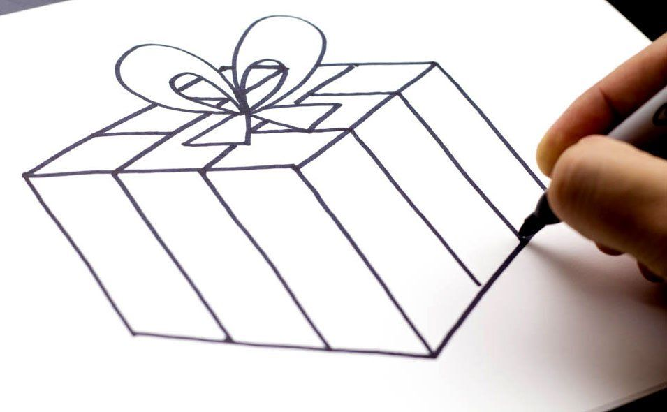 How to draw a Christmas present!