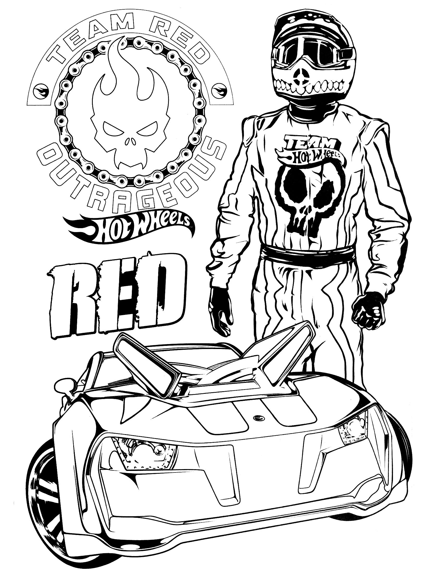 Online coloring hot wheels - Team Hot Wheels Coloring Pages 5