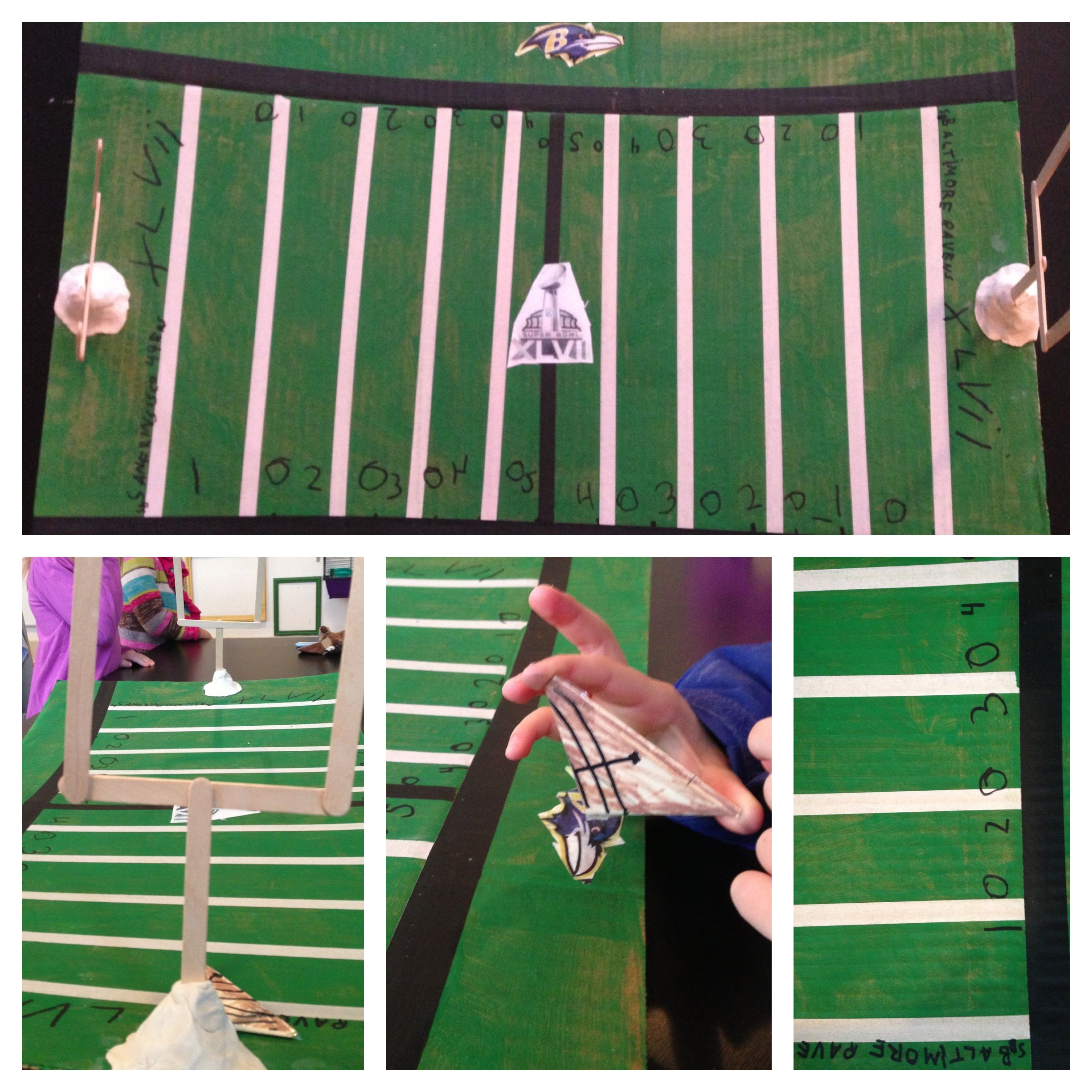 Make Cardboard Finger Football Field Little