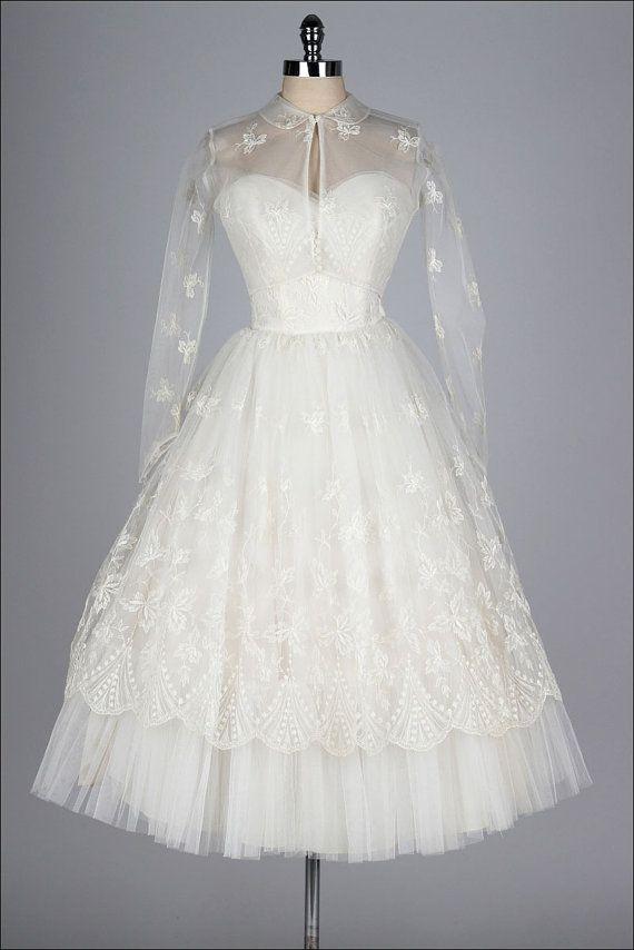 Vintage 1950s Dress Princess Wedding Sheer Lace Bolero