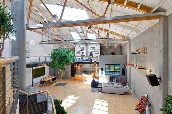 Spacious Apartment Featuring A Basketball Court Luxury Loft Loft Spaces Loft House