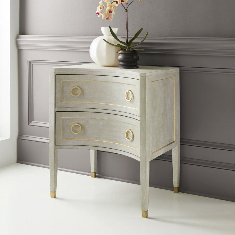 Gustavian Concave 2 Drawer Nightstand Bedside Table Design