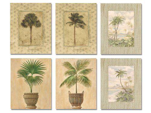 Charming 6 Tropical Palm Tree Art Prints Beachy Feel Home Decor:Amazon:Home U0026 Kitchen