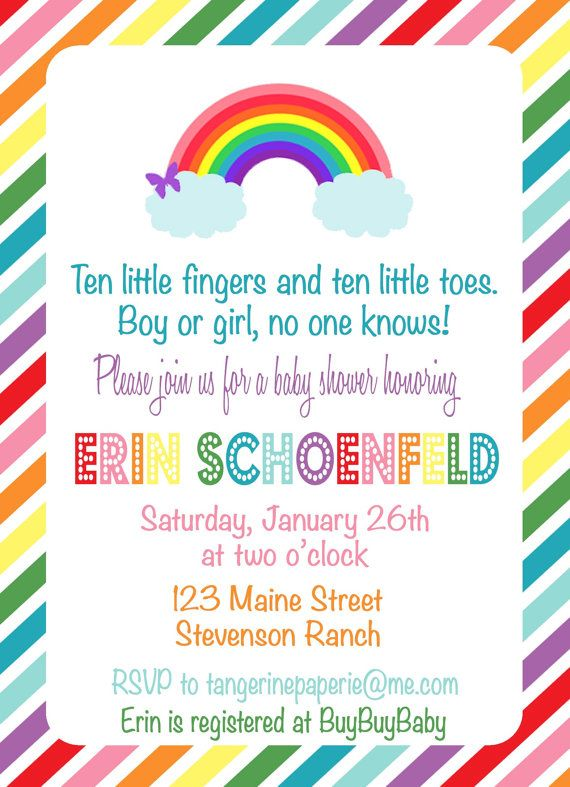 RAINBOW Baby Shower Invitation By TangerinePaperie On Etsy, $14.00