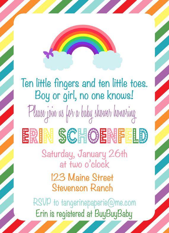 Rainbow baby shower invitation rainbow baby shower invitations rainbow baby shower invitation by tangerinepaperie on etsy 1400 stopboris Image collections