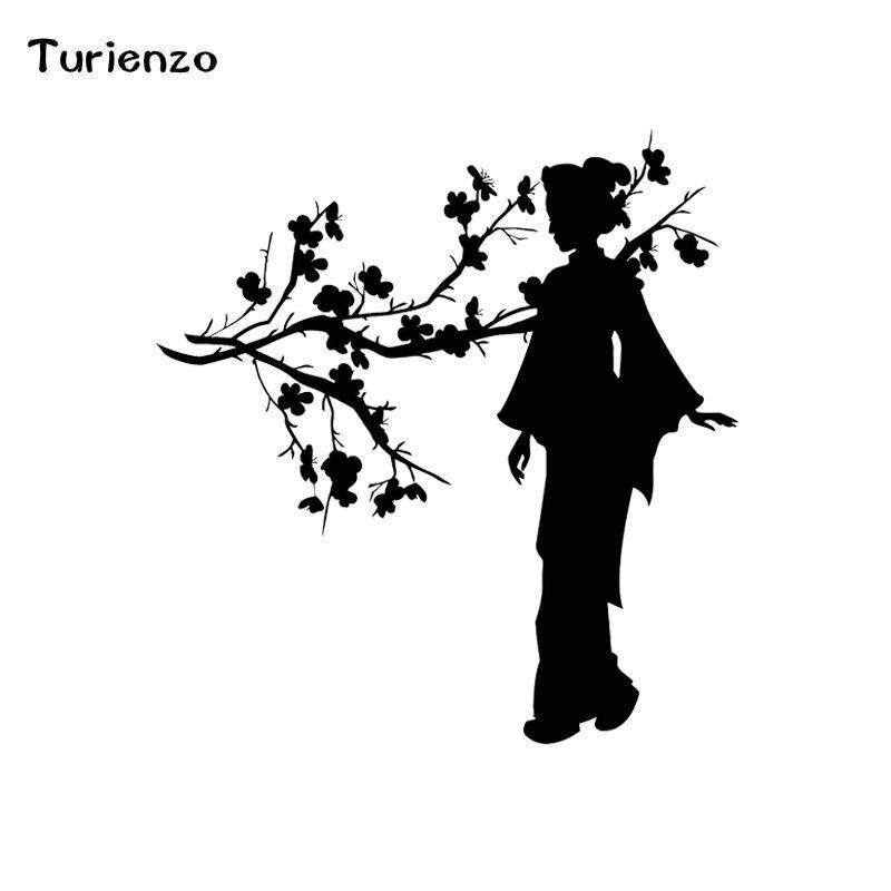 Turienzo 13 13 7cm Geisha Japanese Girl Sakura Tree Branch Japan Car Stickers Funny Vinyl Decals Black White C Funny Vinyl Decals Car Stickers Funny Japan Cars