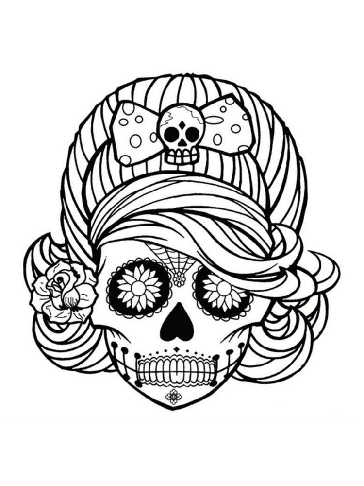 Coloriage Tete De Mort Mexicaine 20 Dessins A Imprimer Halloween