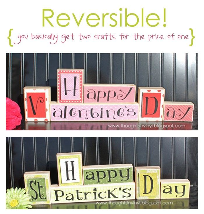 Reversible Valentine's / St. Patrick's Day Blocks