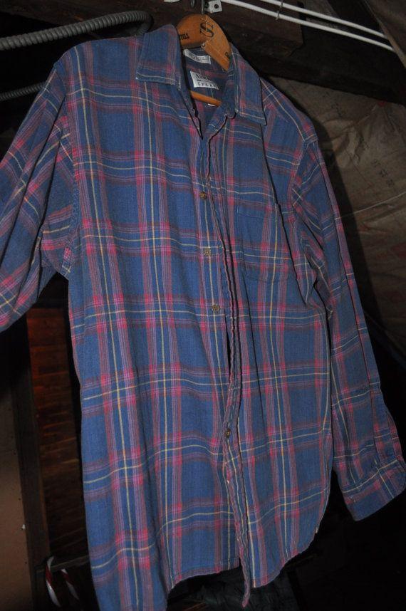 Mens Vintage Blue And Pink Plaid Flannel Shirt Vintage Flannel