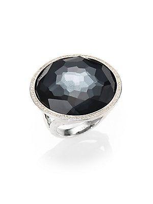 Ippolita Stella Hematite & Diamond Cocktail Ring SPvDv1
