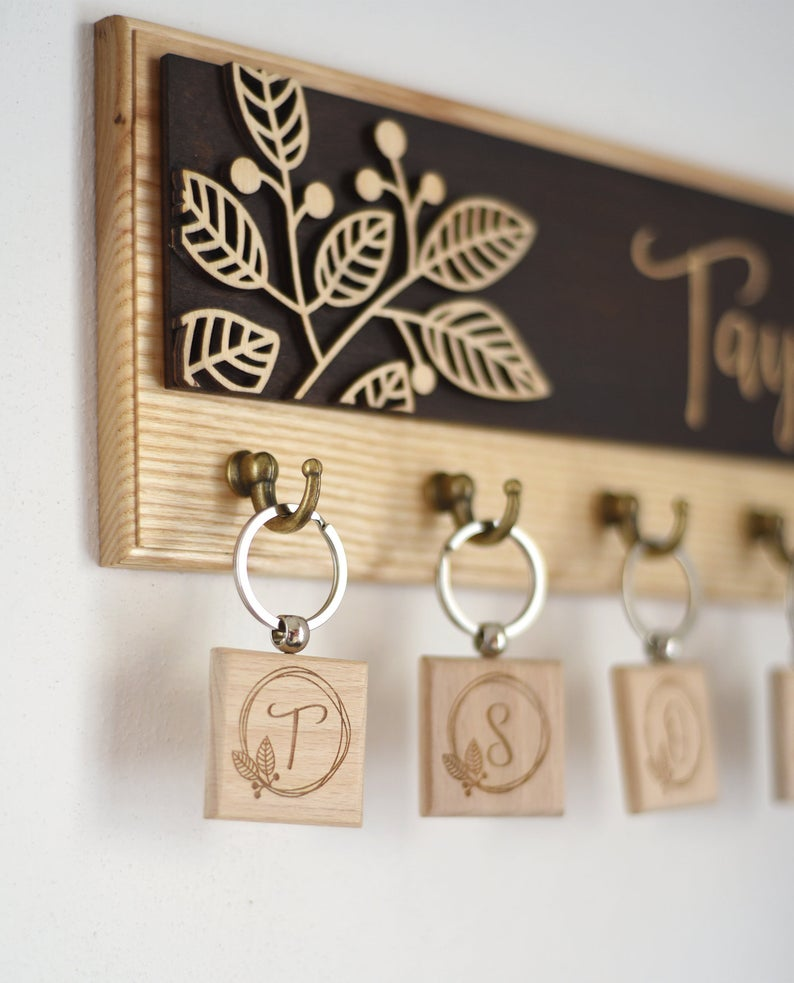 Wooden Farmhouse Rustic Key Holder Rack Family Last Name Etsy Wall Key Holder Key Holder Laser Engraved Ideas