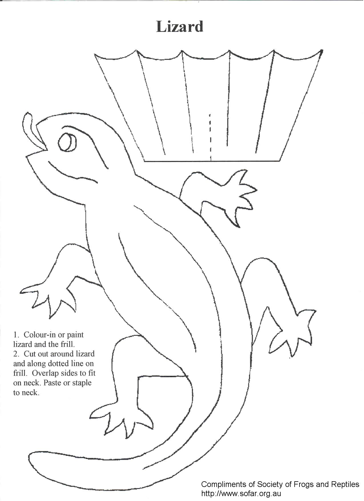 frilled lizard craft | Lizard Frilled Neck to make | Algebra math ...