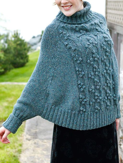 Free Knitting Pattern For Wisteria Poncho With Sleeves Knitting