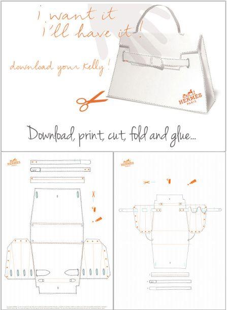 Diy herm s kelly bag origami paper craft patron sac - Patron sac en papier ...